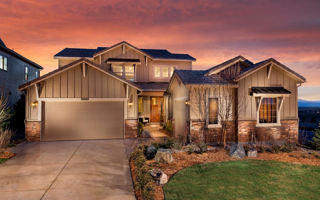 Landmark model home at sunset in Anthem community