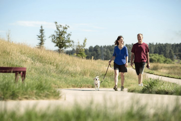 Couple walking dog on a suburban trail