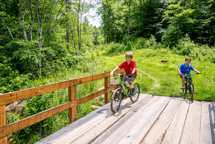 Two young boys on mountain bikes on wooded trail