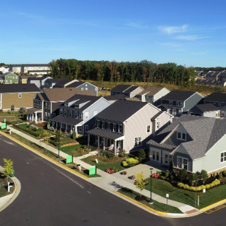 Rows of New Suburban Homes at Embrey Mill